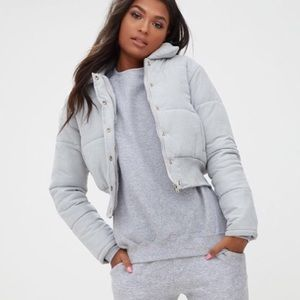 Gray Cropped Puffer Jacket